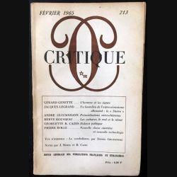 1. Critique n°213 Revue générale des publications françaises et étrangères Février 1965 aux éditions de Minuit