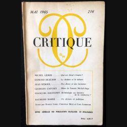 1. Critique n°216 Revue générale des publications françaises et étrangères Mai 1965 aux éditions de Minuit