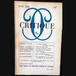 1. Critique n°217 Revue générale des publications françaises et étrangères Juin 1965 aux éditions de Minuit