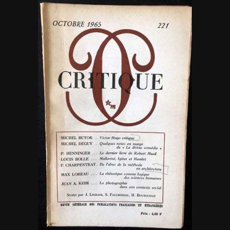 1. Critique n°221 Revue générale des publications françaises et étrangères Octobre 1965 aux éditions de Minuit