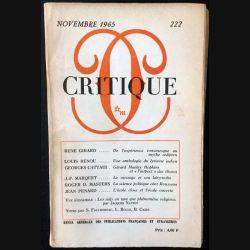 1. Critique n°222 Revue générale des publications françaises et étrangères Novembre 1965 aux éditions de Minuit