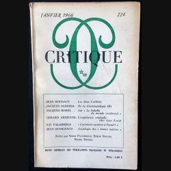 1. Critique n°224 Revue générale des publications françaises et étrangères Janvier 1966 aux éditions de Minuit (C48)