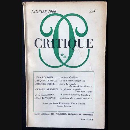 1. Critique n°224 Revue générale des publications françaises et étrangères Janvier 1966 aux éditions de Minuit