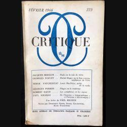 1. Critique n°225 Revue générale des publications françaises et étrangères Février 1966 aux éditions de Minuit