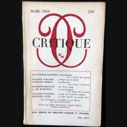1. Critique n°226 Revue générale des publications françaises et étrangères Mars 1966 aux éditions de Minuit