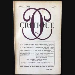 1. Critique n°227 Revue générale des publications françaises et étrangères Avril 1966 aux éditions de Minuit