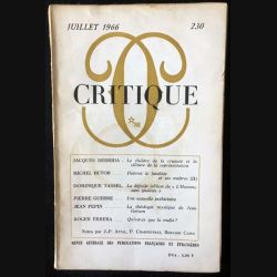 1. Critique n°230 Revue générale des publications françaises et étrangères Juillet 1966 aux éditions de Minuit