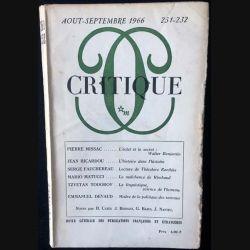 1. Critique n°231-232 Revue générale des publications françaises et étrangères Aout-Septembre 1966