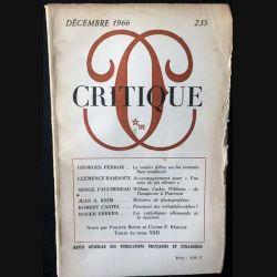 1. Critique n°235 Revue générale des publications françaises et étrangères Décembe 1966 aux éditions de Minuit