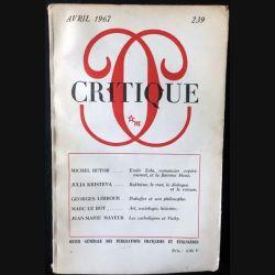 1. Critique n°239 Revue générale des publications françaises et étrangères Avril 1967 aux éditions de Minuit