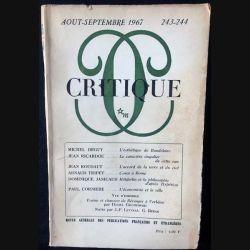 1. Critique n°243-244 Revue générale des publications françaises et étrangères Aout-Septembre 1967