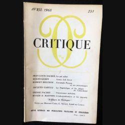 1. Critique n°251 Revue générale des publications françaises et étrangères Avril 1968 aux éditions de Minuit