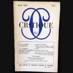 1. Critique n°252 Revue générale des publications françaises et étrangères Mai 1968 aux éditions de Minuit