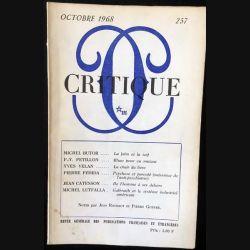 1. Critique n°257 Revue générale des publications françaises et étrangères Octobre 1968 aux éditions de Minuit