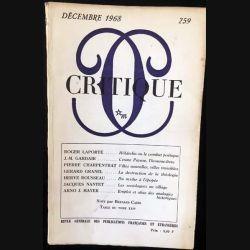 1. Critique n°259 Revue générale des publications françaises et étrangères Décembre 1968 aux éditions de Minuit