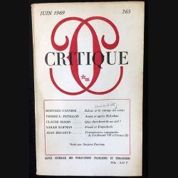 1. Critique n°265 Revue générale des publications françaises et étrangères Avril 1969 aux éditions de Minuit