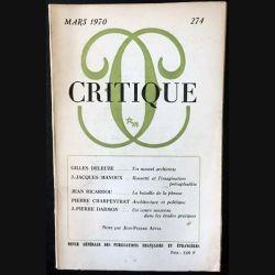 1. Critique n°274 Revue générale des publications françaises et étrangères Mars 1970 aux éditions de Minuit