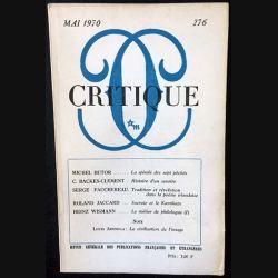 1. Critique n°275 Revue générale des publications françaises et étrangères Avril 1970 aux éditions de Minuit