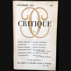 1. Critique n°282 Revue générale des publications françaises et étrangères Novembre 1970 aux éditions de Minuit