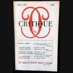 1. Critique n°289 Revue générale des publications françaises et étrangères Juin 1971 aux éditions de Minuit