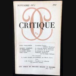 1. Critique n°294 Revue générale des publications françaises et étrangères Novembre 1971 aux éditions de Minuit