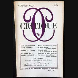1. Critique n°296 Revue générale des publications françaises et étrangères Janvier 1972 aux éditions de Minuit