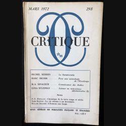 1. Critique n°298 Revue générale des publications françaises et étrangères Mars 1972 aux éditions de Minuit