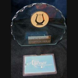 """Trophée """"sponsor gold"""" en plastique transparent de l'ensemble vocal féminin Alienor (C60)"""