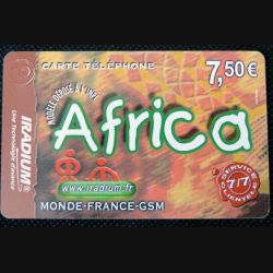TELECARTE : télécarte Africa 7,5 Euros iradium 31/12/2005