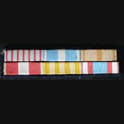 MILITARIA : barrette de rappel de 6 décorations dont l'ordre est surprenant
