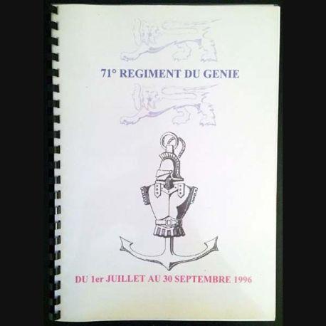 1. 71° régiment du génie du 1er juillet au 30 septembre 1996