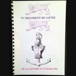 1. 71° régiment du génie du 1er janvier au 31 mars 1996