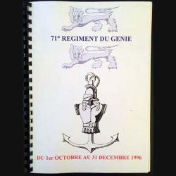 1. 71° régiment du génie du 1er octobre au 31 décembre 1996