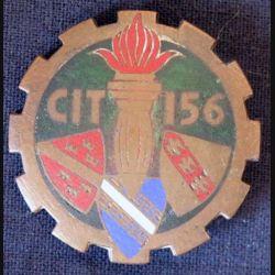 156° CIT : insigne métallique du centre d'instruction du train n° 156 de fabrication Drago G. 1263