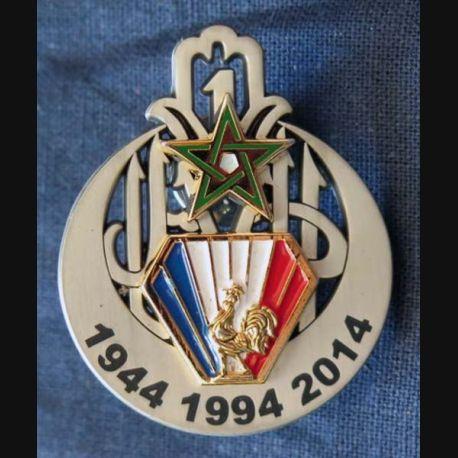 1° RTIR : insigne métallique du 1° régiment de tirailleurs 1944 - 1994 - 2014 de fabrication GLF numéroté 240