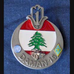 1° RTIR : insigne métallique du 1° régiment de tirailleurs au Liban DAMAN 16 de fabrication GLF