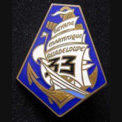 33° RIMA : insigne métallique du 33° régiment d'infanterie de marine de fabrication Drago G. 1897