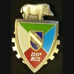 110° RCS : insigne métallique du 110° régiment de commandement et des services de fabrication Delsart 2999 en relief