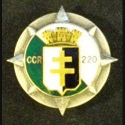 220° CCR : insigne métallique de la 220° compagnie de circulation routière du train de fabrication Drago Paris en émail à 2 boléros au nom du fabricant