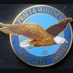 USA : plaque émaillée avec poinçon de l'insigne Pratt & Whithney Dependable engines de dimension 6 cm et de 2 mm d'épaisseur