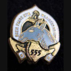 555° CM EO : insigne métallique de la 555° Compagnie Muletière en Extrème Orient