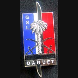 GSL : insigne métallique du groupement de soutien logistique de l'opération Daguet de fabrication Fraisse
