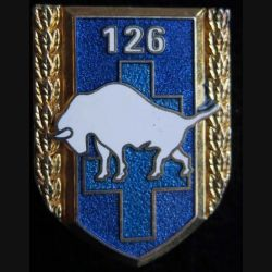 126° RI : Insigne métallique du 126° régiment d'infanterieBoussemart G. 2766 translucide