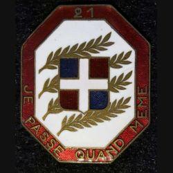 21° RI :21° régiment d'infanterie Arthus Bertrand déposé en émail attache absente