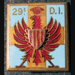 29° DI :29° division d'infanterie Drago Paris G. 1071 en relief et en émail