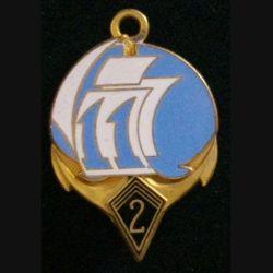 2° RIMA : insigne métallique de la 11° compagnie du 2° régiment d'infanterie de marine RIMA de fabrication Fraisse