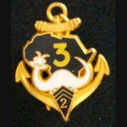 2° RIMA :  insigne métallique de la 3° compagnie Bouar 1987 du 2° régiment d'infanterie de marine RIMA de fabrication Fraisse