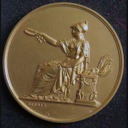 FRANCE : médaille de la société industrielle de l'Est attribuée à MICHE Benjamin en bronze doré poinçonné et signée Brenet de diamètre 4,2 cm