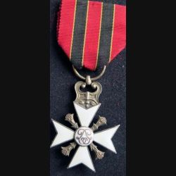 BELGIQUE : Croix belge pour services civiques de 2° classe attribuée pour longues carrières dans l'administration en émail ruban non conforme
