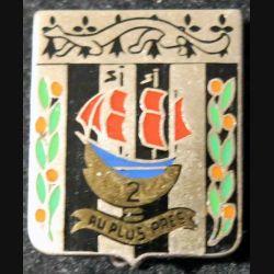2° RI : 2° régiment d'infanterie Drago G. 427 plat guilloché argenté